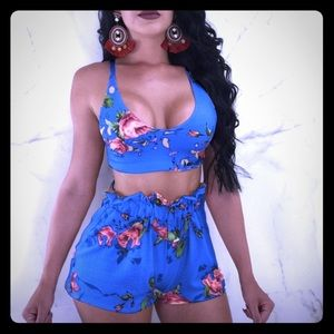 Other - Dark blue floral  two piece !